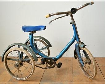 vintage retro antique children child tricycle rustic blue