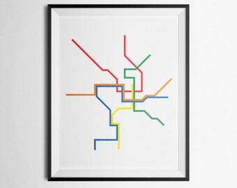 Transit Map of Washington D.C. DC Metro Metrorail Minimalist Print