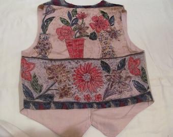 Vintage  Flower Vest  Ladies  size  M
