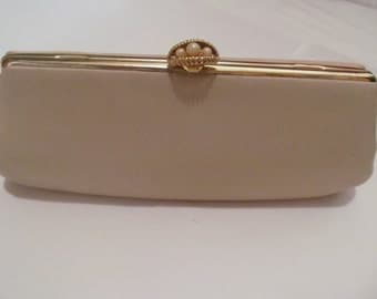 Antique  Vintage  Clutch  purse  -  hand bag -  tan color