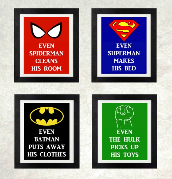 Superhero Bedroom Print Set Boys Bedroom Wall Art
