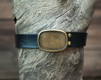 Children's Belt - Black Leather Belt with Brass Oval Plate Buckle (Children's) by Maxavi Leather Goods