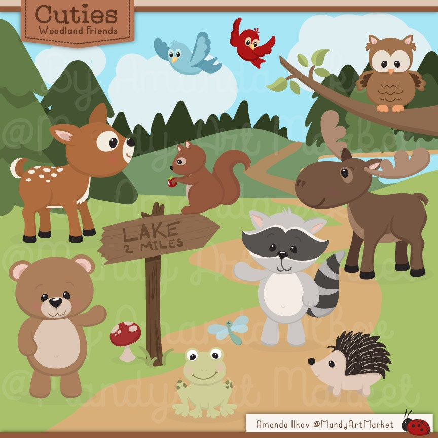 Cute Woodland Animals Clip Art & Papers Woodland Clipart