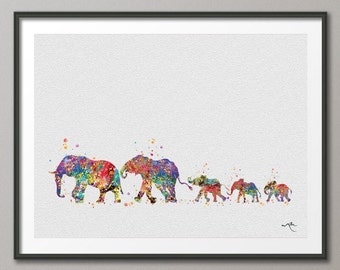Elephant Family Mom Dad and Babys 3 Art Print Watercolor Painting Wedding Gift Wall Art  Wall Decor Art Home Decor Wall Hanging [NO 299]
