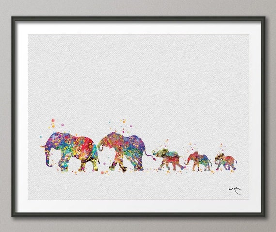 elephant family mom dad and babys 3 art print watercolor
