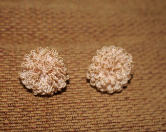 Vintage 1950s Pink & Gold Fabric Carnation- Look Floral Clip On Earrings