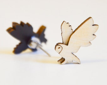 Barn Owl earrings -  natural finish, double layer, sustainable wood studs