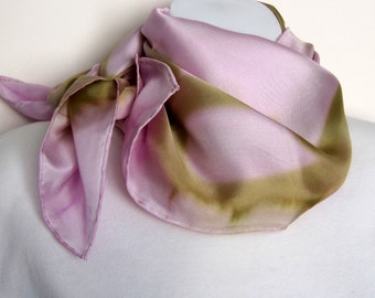 Hand painted square silk twill scarf. Large pink silk head scarf. Pink head scarf, handpainted square painted silk. Pale pink and green.