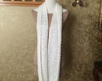 White Silky Soft Custom Knit Infinity Scarf