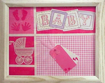 White Carriage on Pink • Baby Girl Premade Scrapbook Wall Hanging • Baby Hand and Footprints • Exclusive Home Decor • Crafts by the Sea