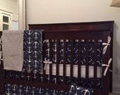 Nautical Crib bumper, anchor crib bumper, baby crib bumper, Nautical Nursery Bedding