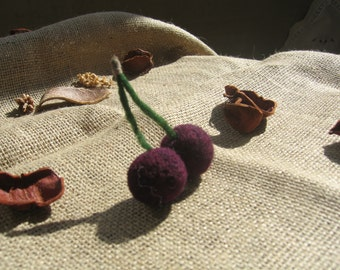 Wool Needle Felted Cherries, Needle Felt Waldorf Party Favor