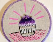 Cute Embroidered Cupcake Hoop Art Pink