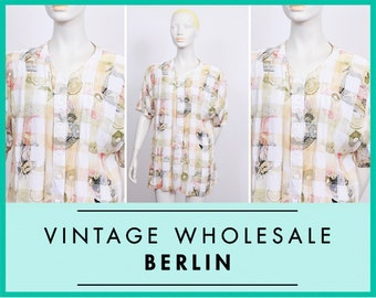 Soft pastel print blouse, white, cream, green, loose fit, 80s, VINTAGE wholesale ID:5506