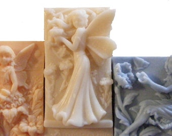 3 Set Angels / Fairy Bar Soap Set 100% Natural! Decorative Soap! Choose your Scent, Color, and Soap Type