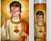 """David Bowie Prayer candle. Saint Bowie! Great gift! Premium Handmade 9"""" Soy Candle!"""
