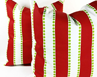 Stripe Red Pillow,  pillows cover, red and White, Cushion,  polka ,Covers,set of two,Pillow Case,Select your size
