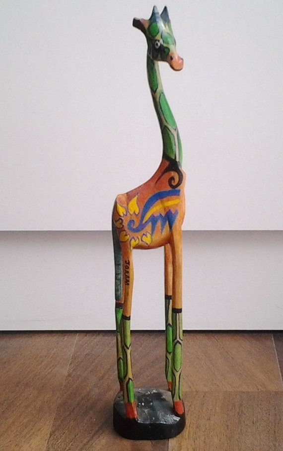 Giraffe Statue Elegant Wood Hand Carved Hand By