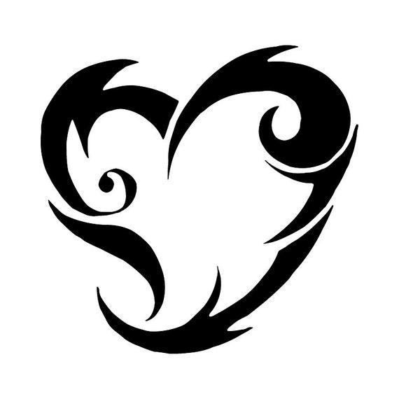 Tribali fiammeggiante cuore disegno del tatuaggio tribale - Dessins coeurs ...