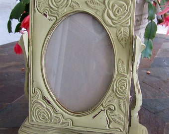 Shabby Chic Sage Green Picture Frame / Desk Top. Picture Frame
