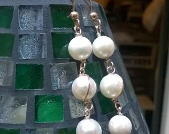 3 Perle Naturali Orecchini Argento Rodiato Ramato Hand Made Italy Lucenti Compleanno Orecchini Perle Naturali Lovely Earrings