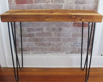 Mid century Console with Hairpin Legs,Reclaimed wood from NYC, Entry Table,Sofa Table