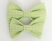 Lime Gingham Dog Bow Tie