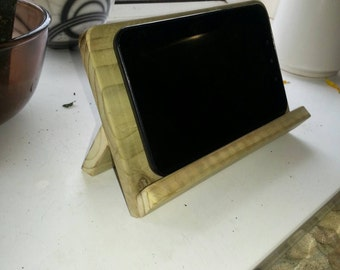 Reclaimed wooden tablet and kindle stand