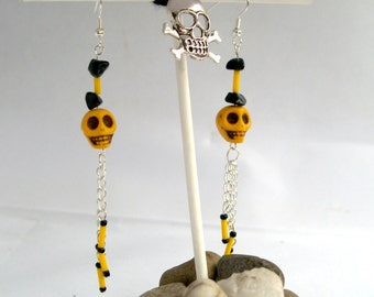 Sugar Skull Earrings Black Yellow Skull Drop Earring Perfect For Day Of The Dead Celebrations Or As A Cute Birthday Gift Silver Plated