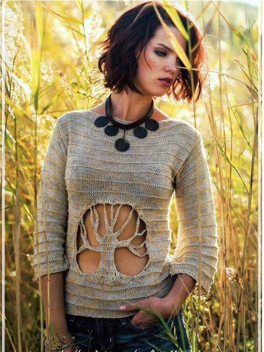 original pull over femme arbre de vie tricot fait main. Black Bedroom Furniture Sets. Home Design Ideas