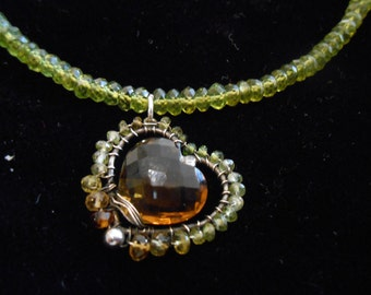 """Heart of Gold - 16"""" Cognac Quartz with Tourmaline and Vesuvianite Bead Necklace with Sterling Silver"""