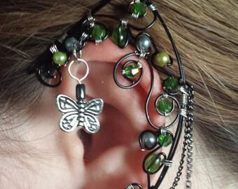 Green & Black Crystal and Pearl Elf Ear Cuff