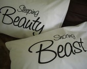 Pillow Cases: Sleeping Beauty & Snoring Beast Pillow Case Set for Couples, Matching Pillow Cases, Couples Pillow Cases