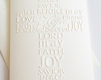 """Set of 4, """"Cross"""" Ivory Embossed Note Cards, Baptism, Encouragement, Easter, Greeting Cards"""