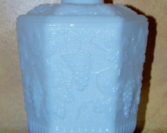 A Fire King, Milk Glass Cookie / Biscuit Jar .... by Anchor Hocking