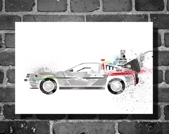 Back to the Future vehicle movie poster minimalist poster Dolorean art wall art home decor