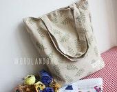 Christmas Woodland Handmade Olive Leaf Recycled Reusable Cotton and Linen cloth Tote Bag shopping bag Shoulder bag  Ba-9