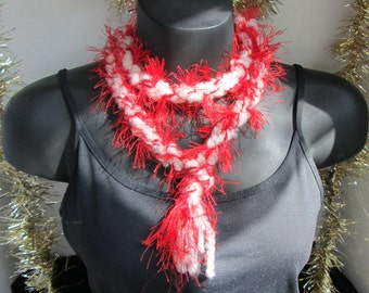 Red and White Cord Scarf