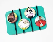 Handmade Fabric Covered Button Hair Ties - Farm House Animals, Sheep, Cow and Horse