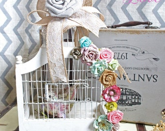 Altered Birdcage Cottage chic home decor Shabby chic Farmhouse decor Farm house Decoupage French country Bedroom House Burlap vintage style
