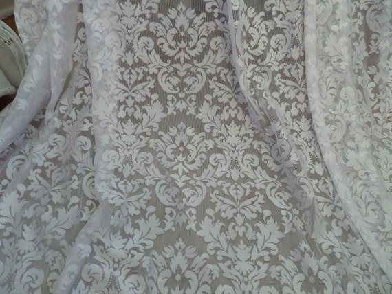 Vintage Pair Stunning French Damask Lace Curtain Panels