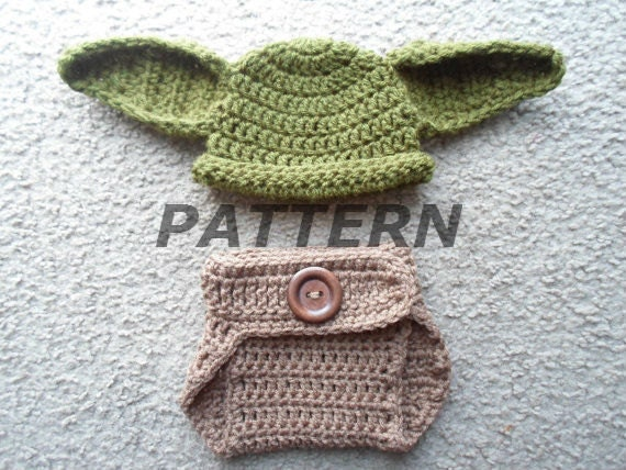 Crochet Patterns Yoda : Crochet PDF Pattern. Yoda Set (Hat & Diaper Cover)- Instant Download ...