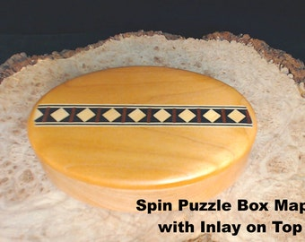 SPIN Puzzle Box - Maple with TOP Inlay Design. Birthdays, Proposals, Christmas, Quinceanera, Confirmation, Bat Mitzvah/Bar Mitzvah, Sorority