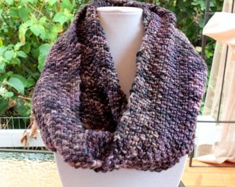 Dusty Purple and Grey Knit Infinity Scarf