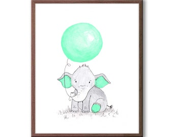 Baby Nursery Art, Elephant Nursery Decor, New baby Gift, Kids Room Art, Wall Art for Baby Nursery, E457