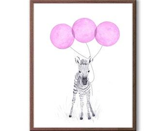 Baby Zebra Watercolor, Baby Girl Nursery Decor, Zebra Nursery Art, Yellow and Gray Nursery, Safari Animal Art, Kids Wall Art, Z111WN
