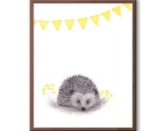 Hedgehog Watercolor, Gender Neutral Baby, Nursery Art, Woodland Nursery Decor, Yellow and Gray, Hedgehog Print - H117