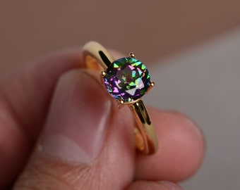 Mystic Topaz Ring Rainbow Topaz Ring Simple Rainbow Gemstone yellow Gold  Ring Anniversary Gift Promise Ring Solitaire Ring