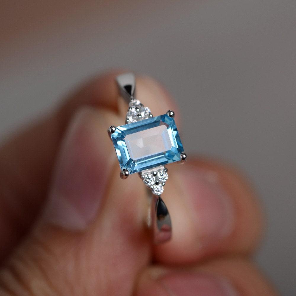 swiss blue topaz ring promise ring engagement ring blue topaz. Black Bedroom Furniture Sets. Home Design Ideas