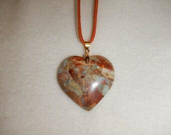 Heart-shaped Blue Snake Skin Jasper pendant necklace (JO247)